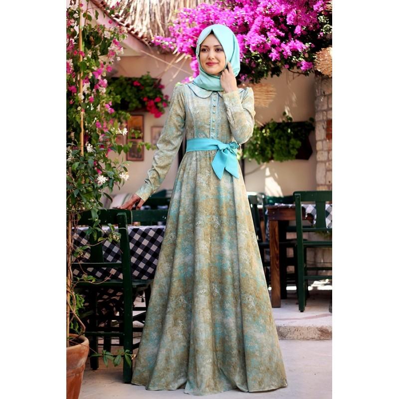 بالصور فساتين محجبات تركية صيفية , تصميمات تركية حديثة لفستان السهرة الصيفي المناسب للفتاة المحجبة 4842 3