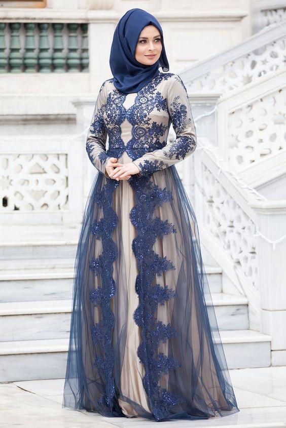 صوره فساتين محجبات سهرة , شاهدي اروع واحدث فستان سهرات مناسب للمحجبة