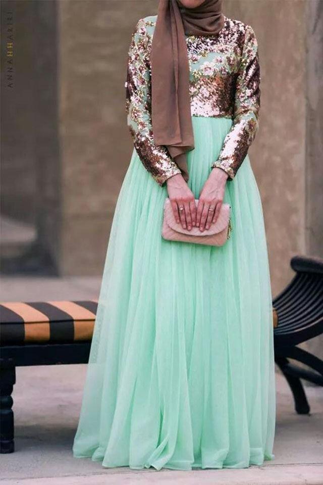 بالصور فساتين محجبات سهرة , شاهدي اروع واحدث فستان سهرات مناسب للمحجبة 4845 6