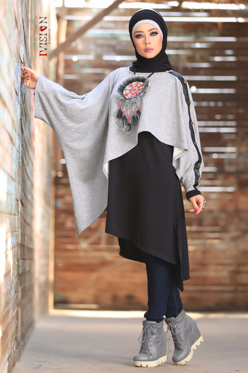 بالصور فساتين محجبات شتوية , شاهدي اروع فستان شتوي يليق بحجابك 4847 7