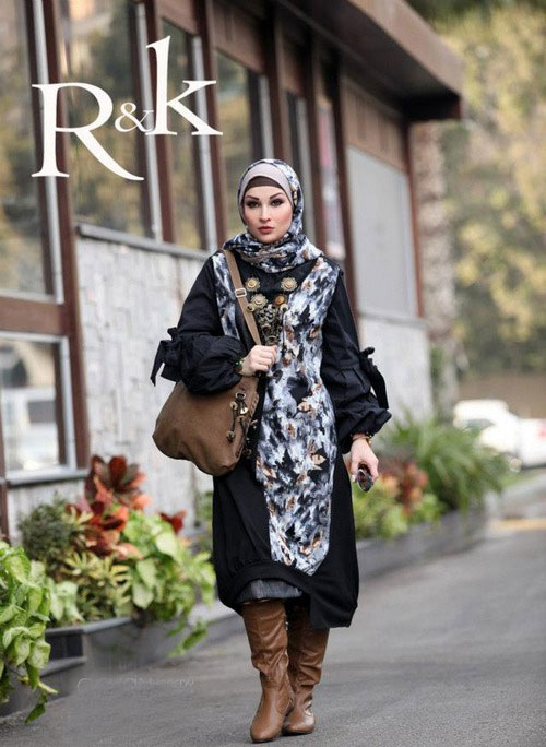 بالصور فساتين محجبات شتوية , شاهدي اروع فستان شتوي يليق بحجابك 4847 8