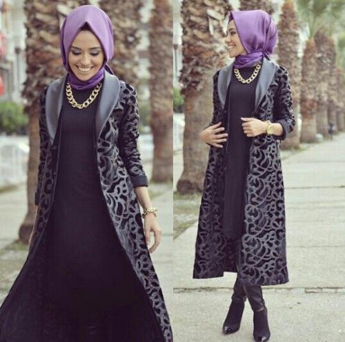 صورة فساتين محجبات شتوية , شاهدي اروع فستان شتوي يليق بحجابك