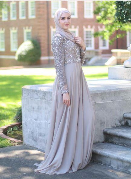 صورة فساتين محجبات شيفون , روعة الشيفون لن تتخيليها لفستانك