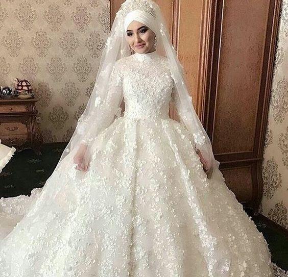 بالصور صور فساتين زفاف محجبات , اجمل فساتين بيضاء للعرائس 5161 3