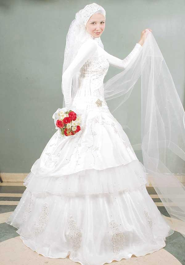بالصور صور فساتين زفاف محجبات , اجمل فساتين بيضاء للعرائس 5161 5