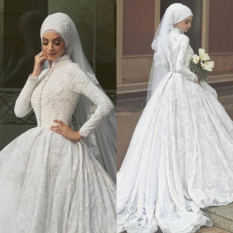 بالصور صور فساتين زفاف محجبات , اجمل فساتين بيضاء للعرائس 5161 7