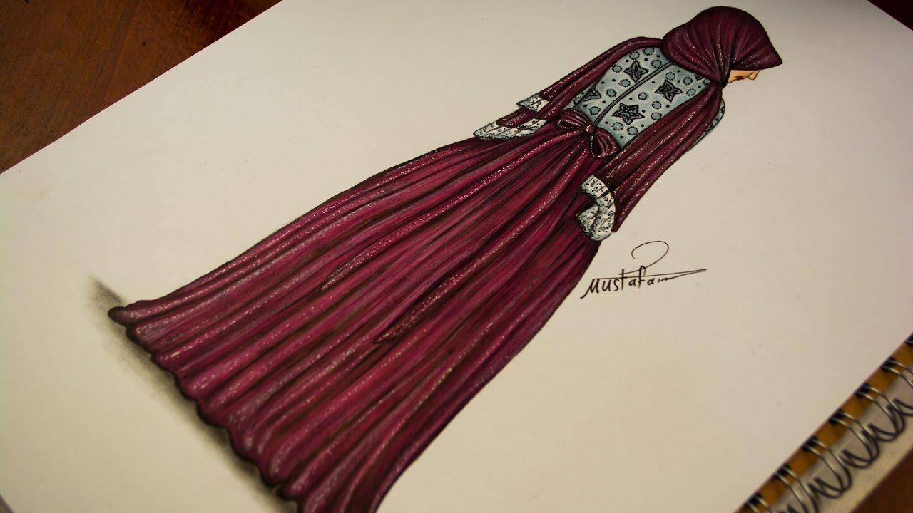 بالصور طريقة رسم فساتين , طريقة تصميم فساتين محجبات 5570