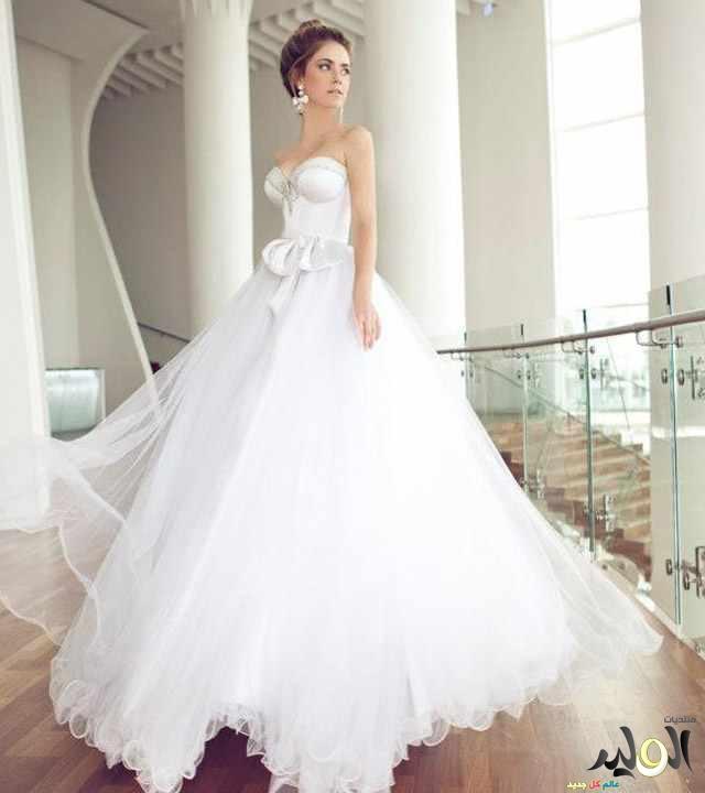 صوره فساتين زفاف جميلة , احلى فستان باللون الابيض