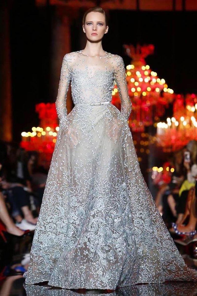 صورة فساتين سهرة دانتيل ايلي صعب , اجمل فستان على الموضه