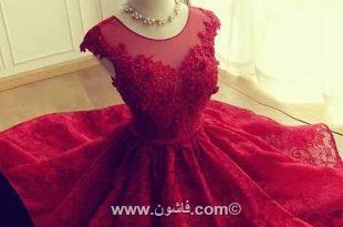 صورة فساتين سواريه حمراء , فستان بناتى شيك
