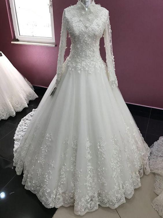 بالصور ازياء العروس , اروع فستان زفاف بالكمام 599 1