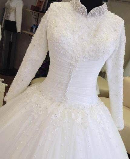 بالصور ازياء العروس , اروع فستان زفاف بالكمام 599 2