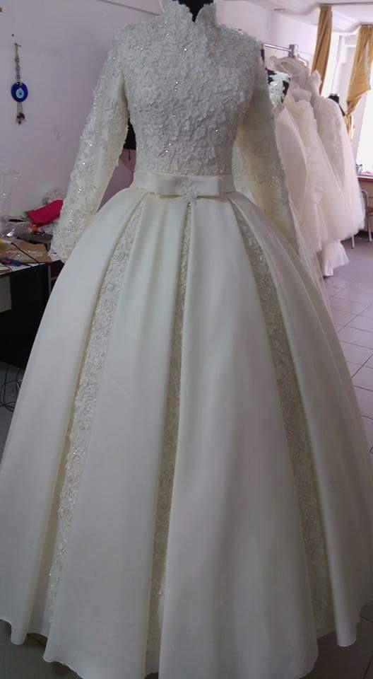 بالصور ازياء العروس , اروع فستان زفاف بالكمام 599 4
