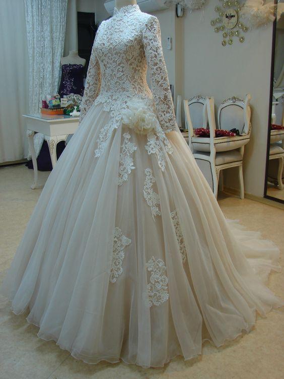 بالصور ازياء العروس , اروع فستان زفاف بالكمام 599 5