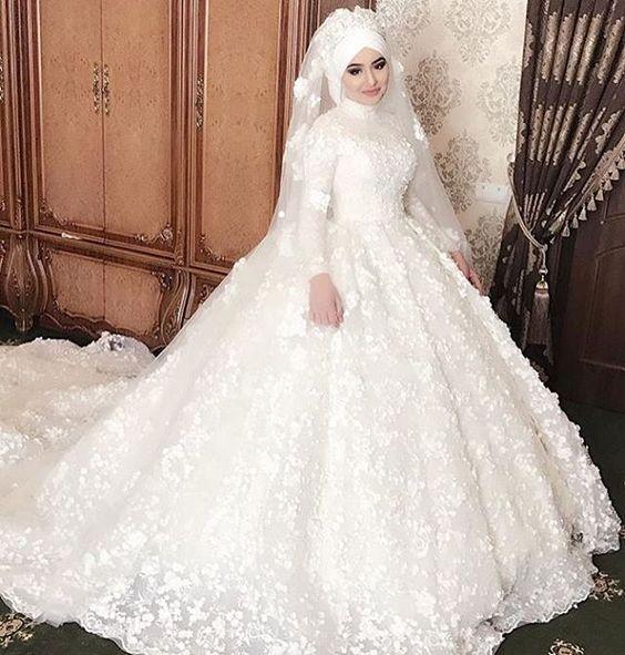 بالصور ازياء العروس , اروع فستان زفاف بالكمام 599 6