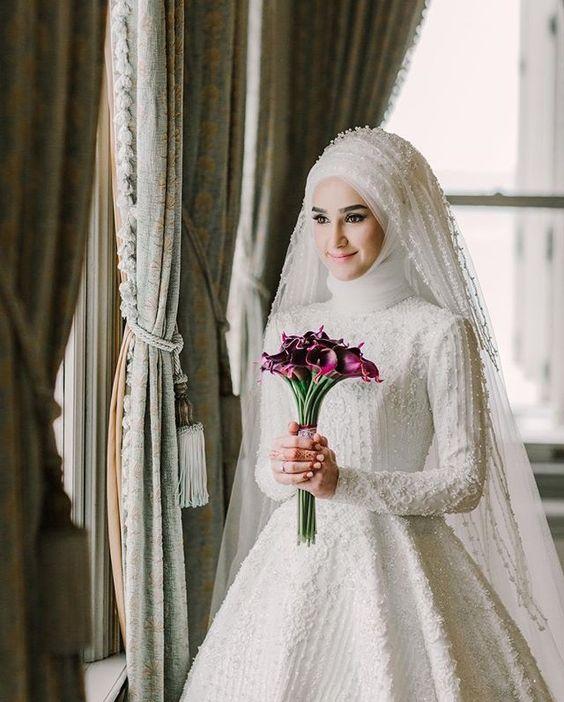 بالصور ازياء العروس , اروع فستان زفاف بالكمام 599 8