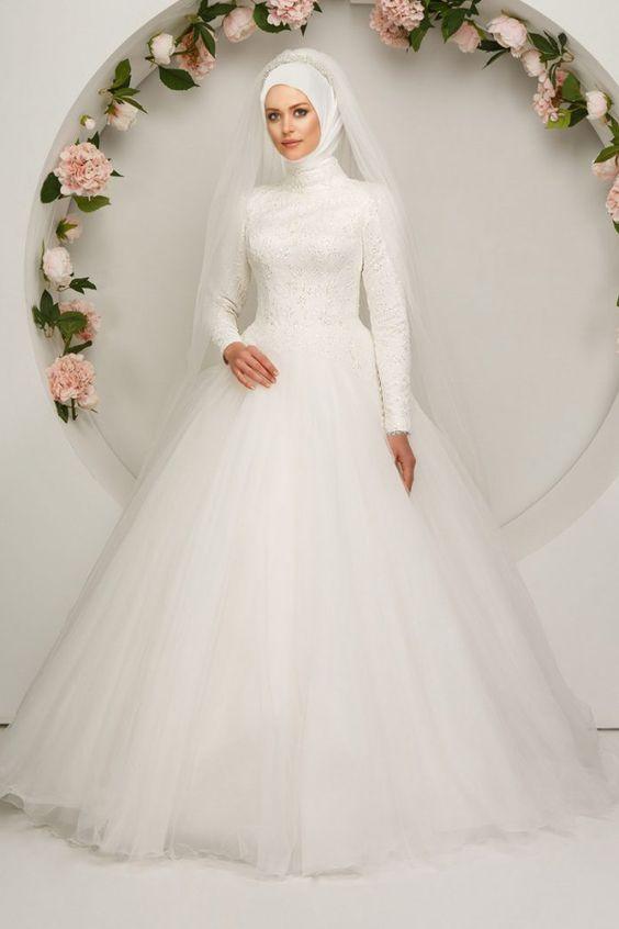 بالصور ازياء العروس , اروع فستان زفاف بالكمام 599