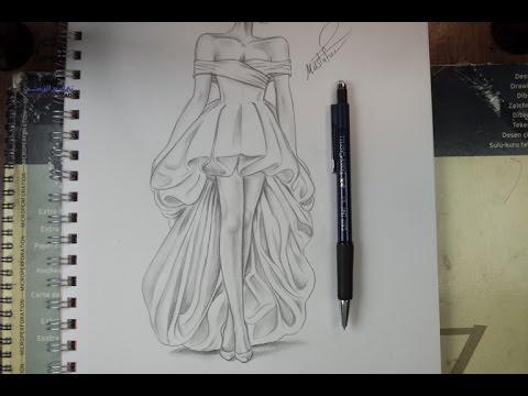 صورة رسومات ازياء بالرصاص , تصاميم ملابس البنات
