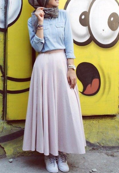 صورة ملابس شيك للمحجبات , اجمل موديلات تنورات للمحجبة