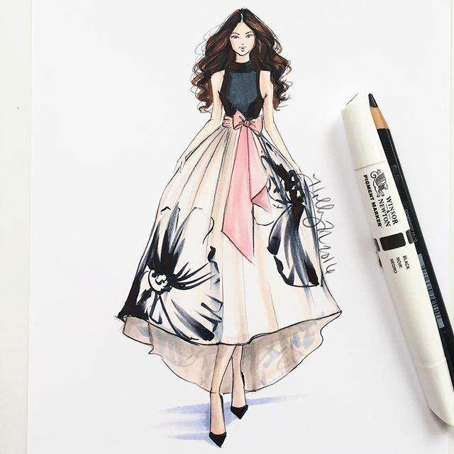 صورة رسم فساتين ازياء , اجمل تصميمات فستان سهرة