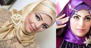 ربطات حجاب للمناسبات , احلى تشكيله لفات طرح