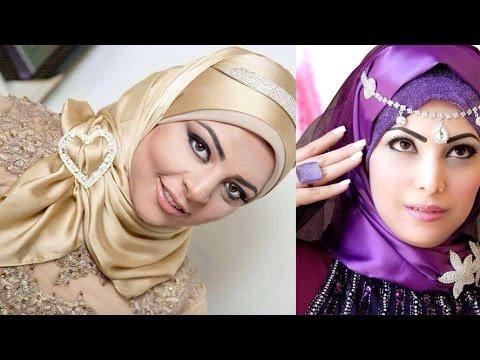صورة ربطات حجاب للمناسبات , احلى تشكيله لفات طرح