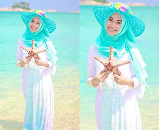 صورة ملابس مصيف للمحجبات , تالقي في الصيف بحجابك مع هذا اللبس