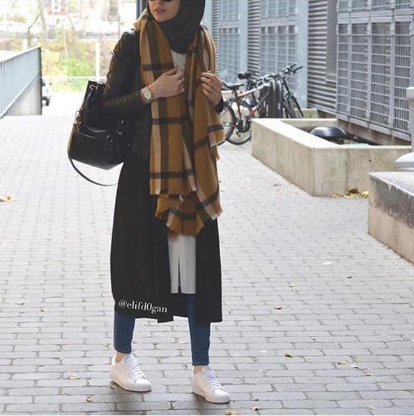 صورة ملابس شتوية للمحجبات , اناقة اختيار الازياء