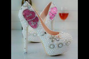 صورة احذية عرايس كعب عالي , احذية بيضاء لاجمل عروس