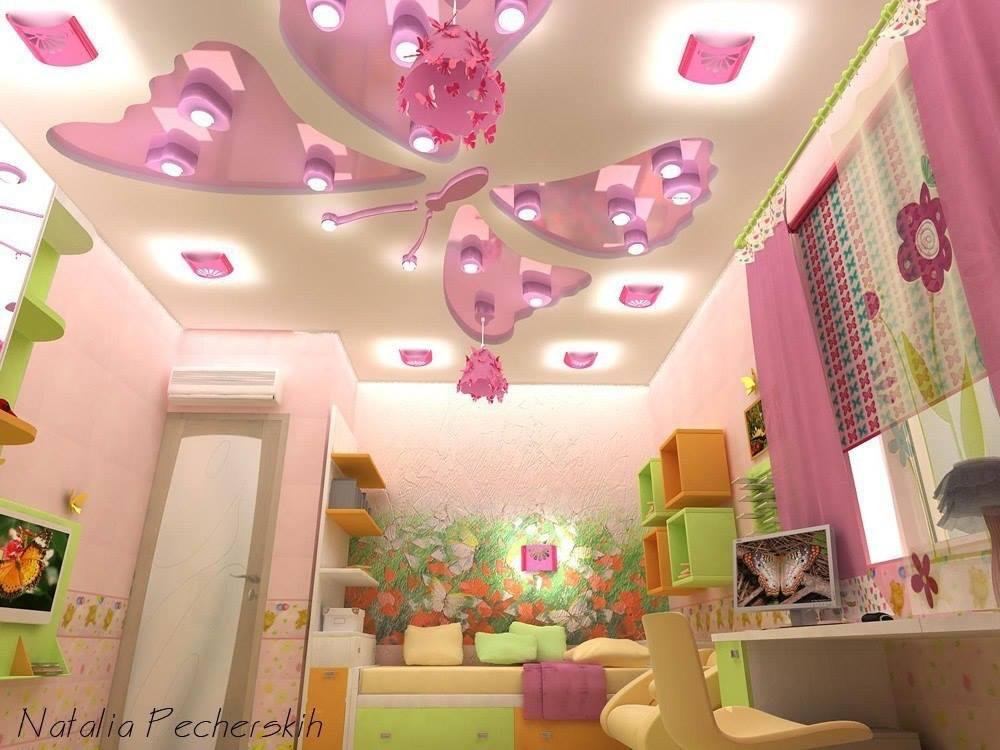 صور ديكورات جبس غرف نوم بنات , اشيك وارق ديكورات لغرفة نوم البنات