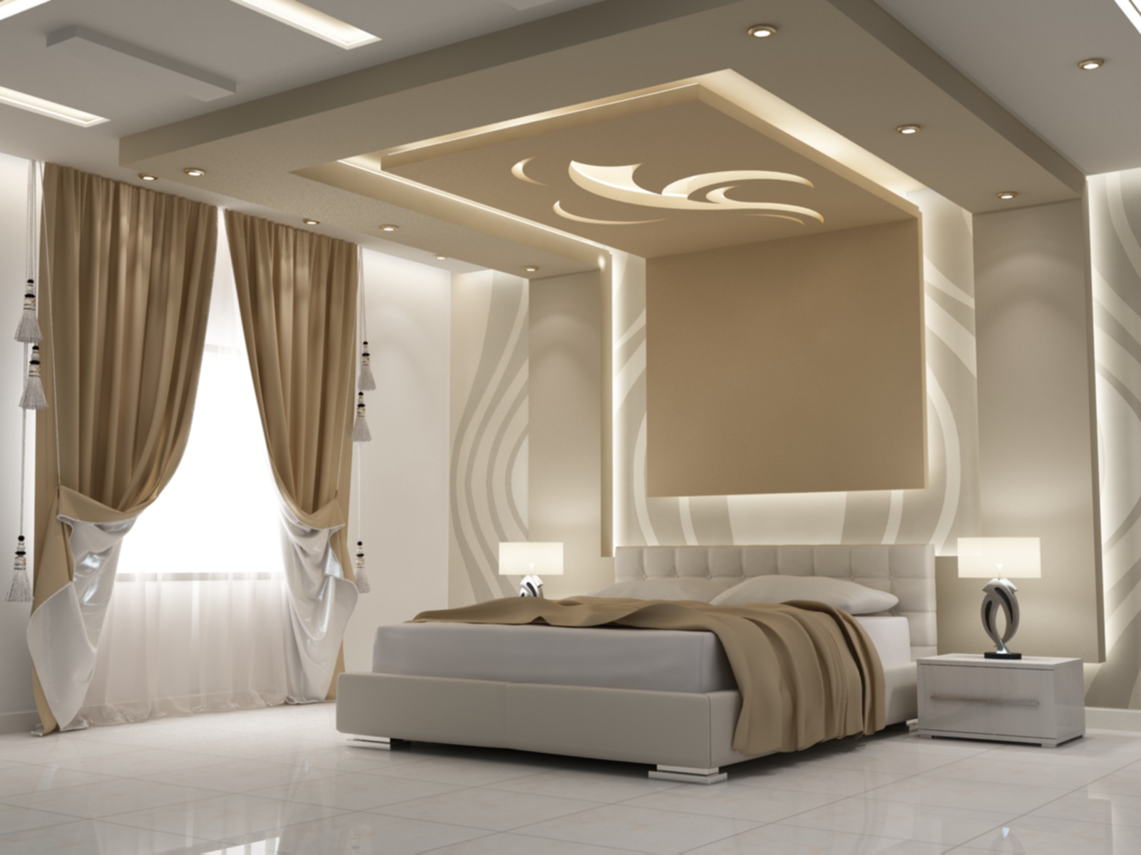 صور ديكور جبس غرف نوم , ديكورات اسقف وحوائط غرف النوم للعرسان