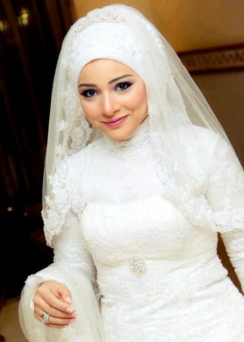صوره لفات طرح عرايس محجبات , اروع لفات الطرح للعرائس المحجبة