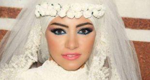 صورة لفات طرح عرايس محجبات , اروع لفات الطرح للعرائس المحجبة