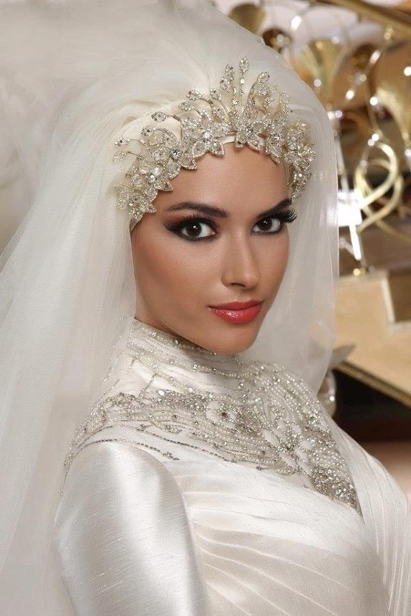 صورة طرحات عرايس محجبات , احلى لفات طرح لعروس جميلة