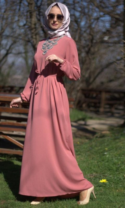 بالصور فساتين قطن طويلة للمحجبات , فساتين خروج عالموضة تناسب حجابك 5170