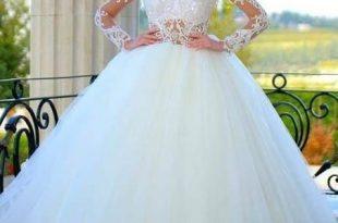 صورة فساتين زفاف دانتيل منفوشه , افضل الاقمشة للزفاف