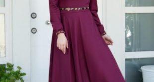 صورة تألقي بأنعم الفساتين , فساتين سواريه للمحجبات ستان بسيطة