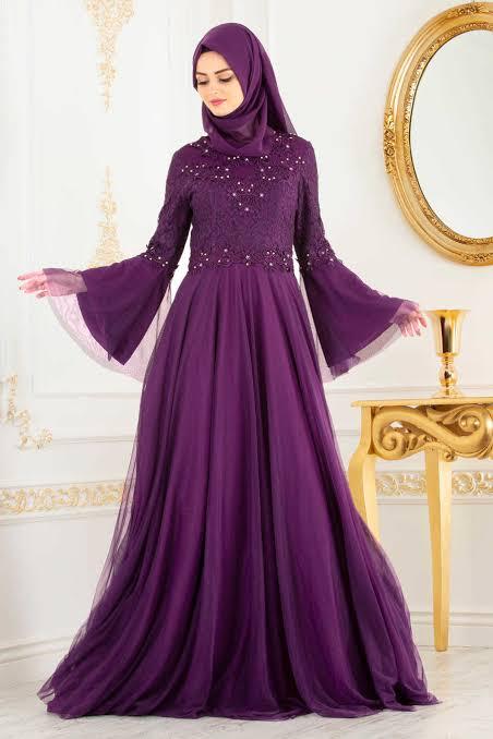 صورة فستان خطوبة محجبات 5793